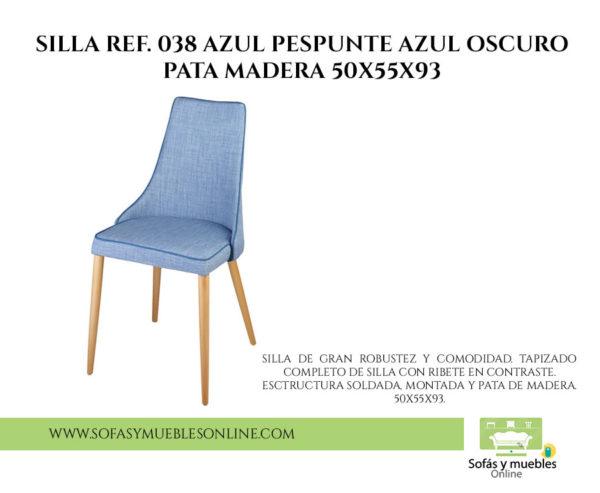 SILLA REF. 038 AZUL PESPUNTE AZUL OSCURO PATA MADERA 50x55x93