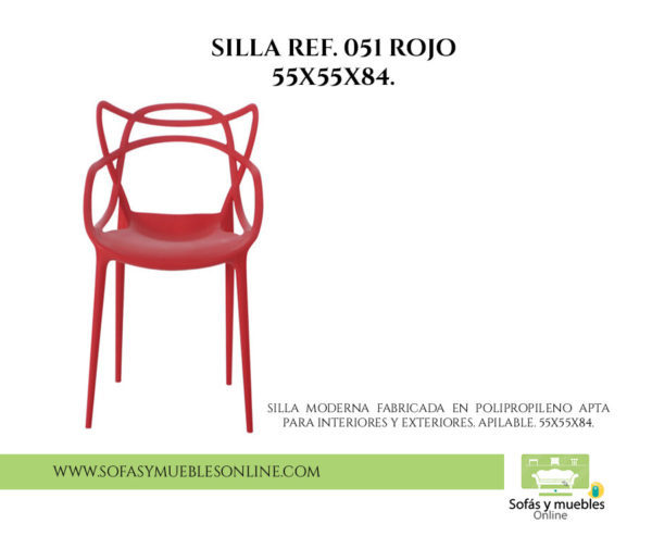 SILLA REF. 051 ROJO 55X55X84.