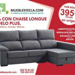 Sofá con chase longue - >Muebles Yecla